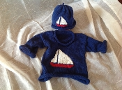 Sweater sailboat and hat set